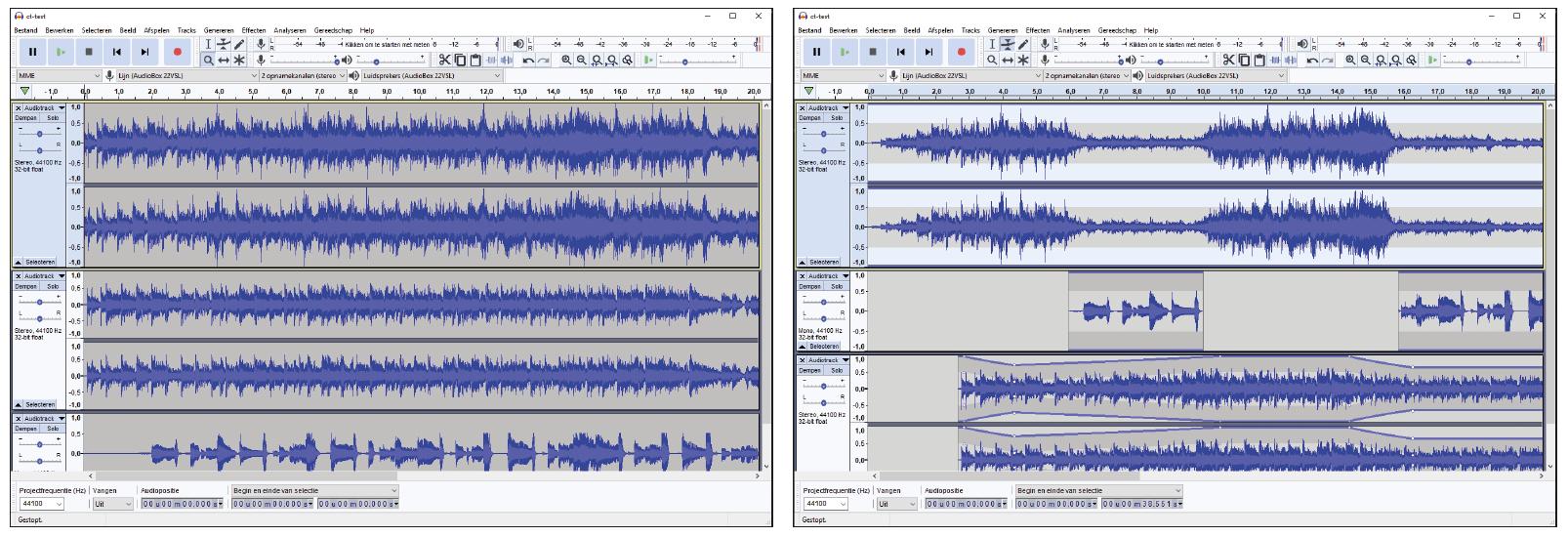 geluidsopname maken Audacity opname audio multitrack bewerken mixen