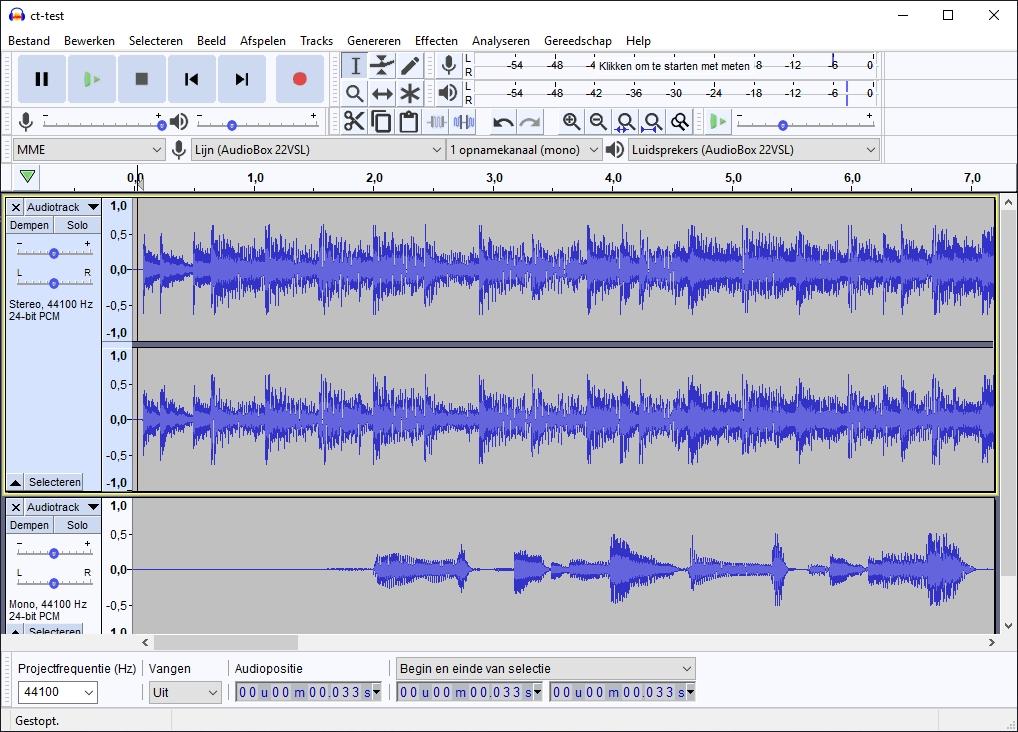 geluidsopname maken Audacity opname golfvorm visualisatie