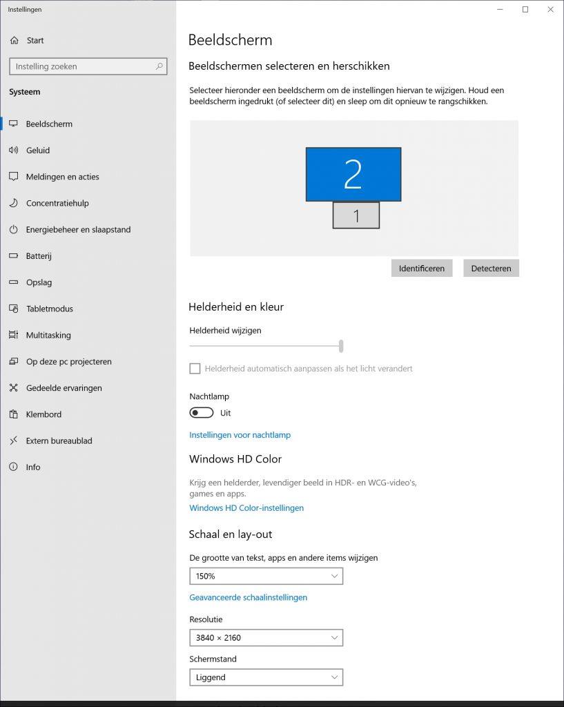 scherm ergonomisch instellen monitor Windows grootte helderheid resolutie