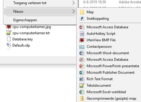 Nieuw-menu sneller maken aanpassen Windows Verkenner Nieuw bestand
