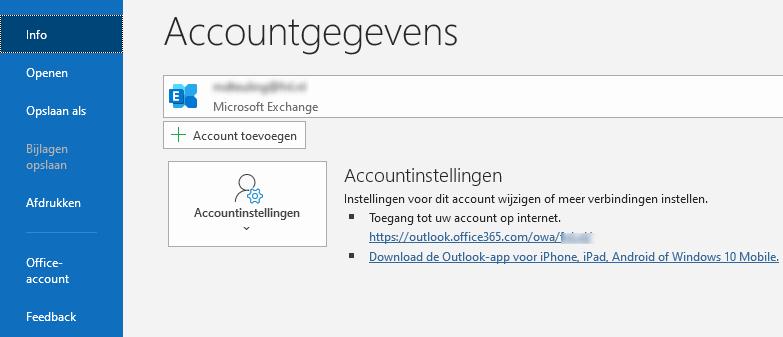 Outlook thuis gebruiken onderweg Outlook Web OWA accountinfo