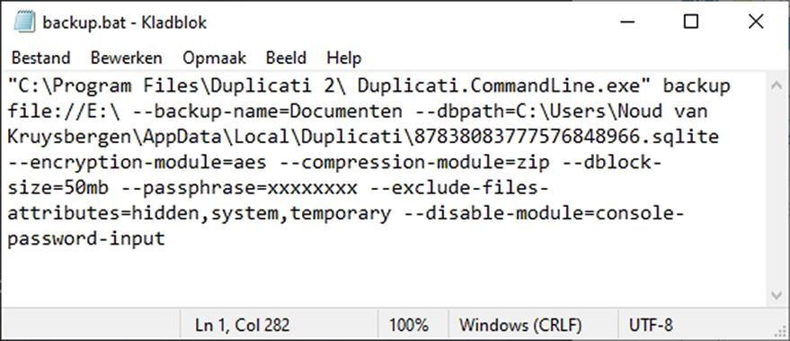 back-uppen gratis overal snel eenvoudig Duplicati batch opdracht automatisch