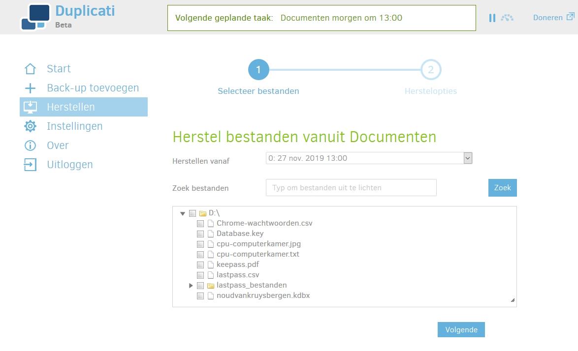 back-uppen gratis overal snel eenvoudig Duplicati herstel bestand uit back-up