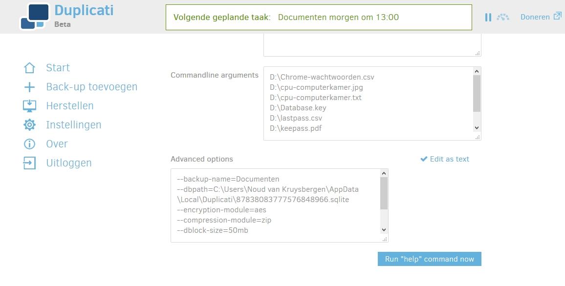 back-uppen gratis overal snel eenvoudig Duplicati opdracht commando overnemen