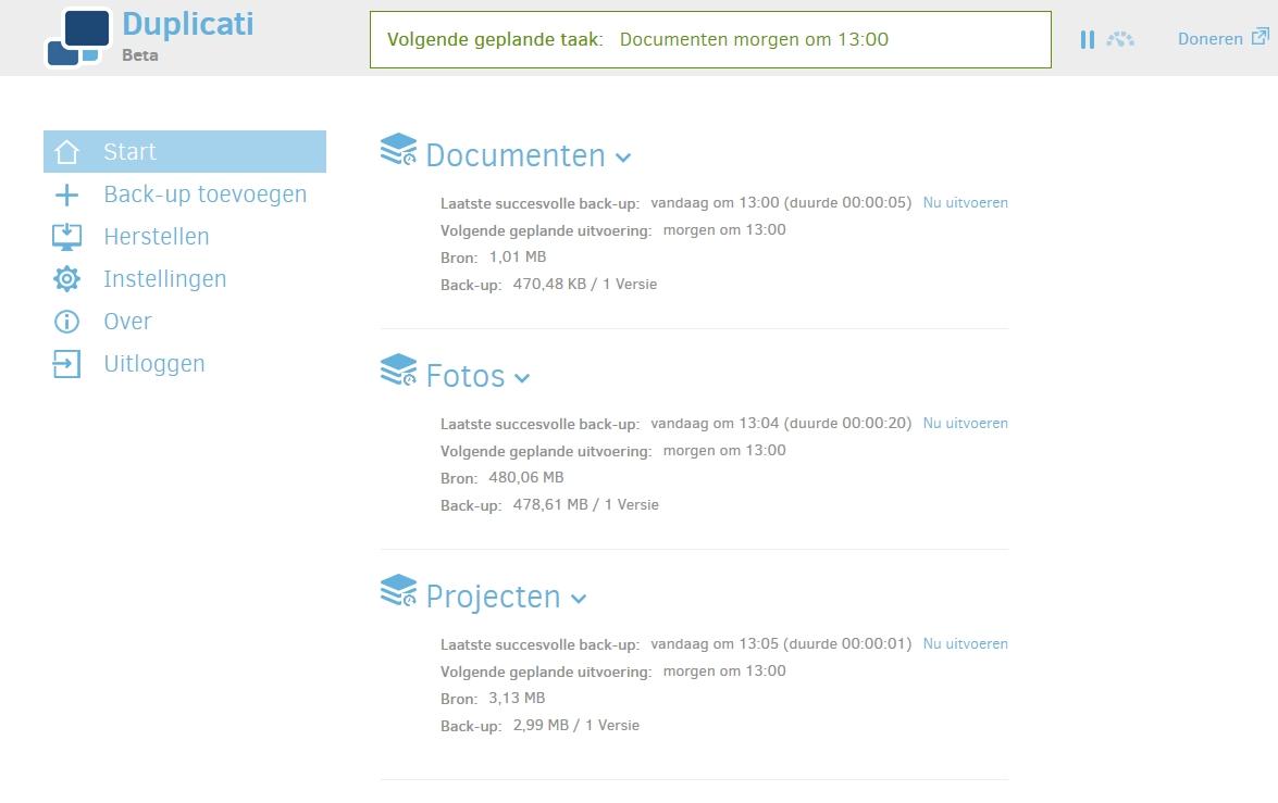 back-uppen gratis overal snel eenvoudig Duplicati webinterface