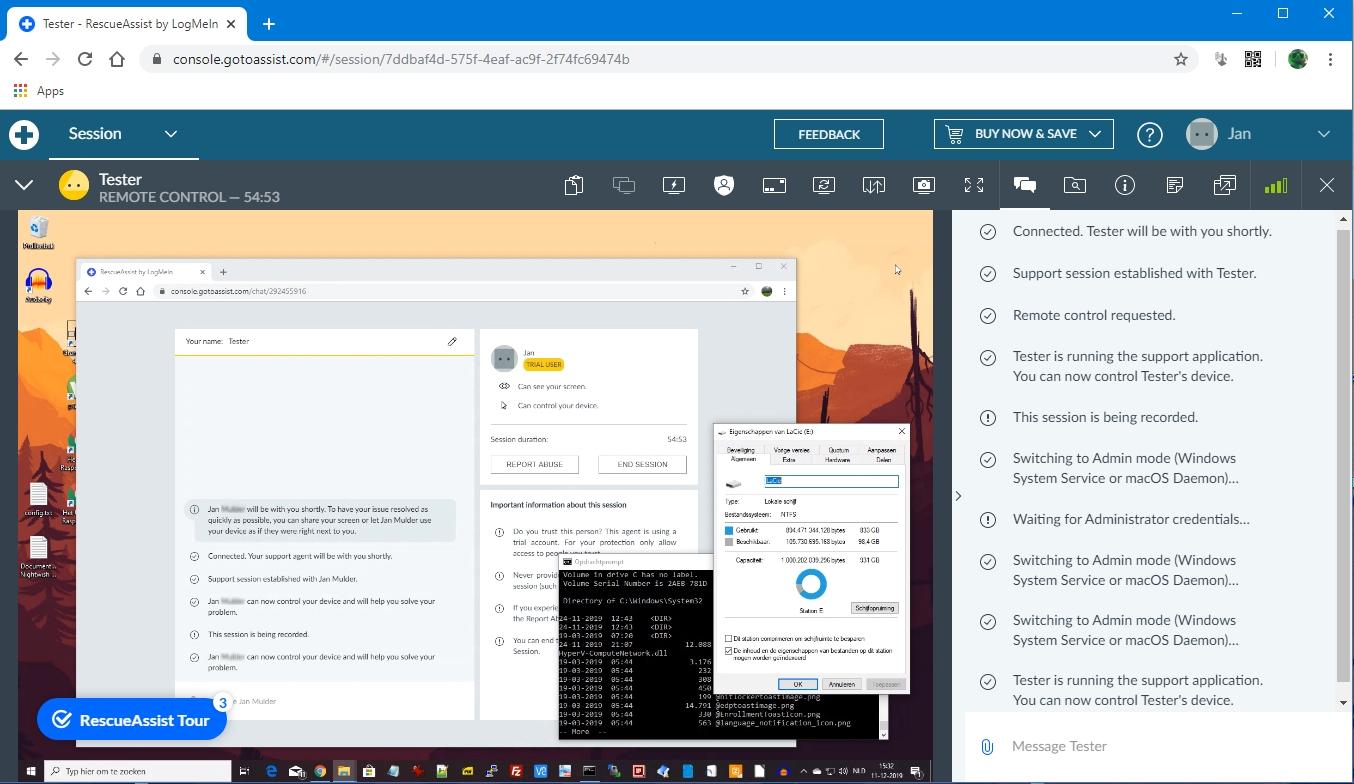 remote support beheer software zakelijk commercieel pc computer hulp RescueAssist