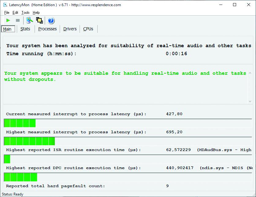 Muziek opname hapert Windows latentie LatencyMon