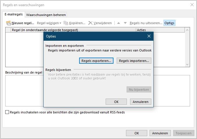 Outlook regels berichten overzetten importeren exporteren