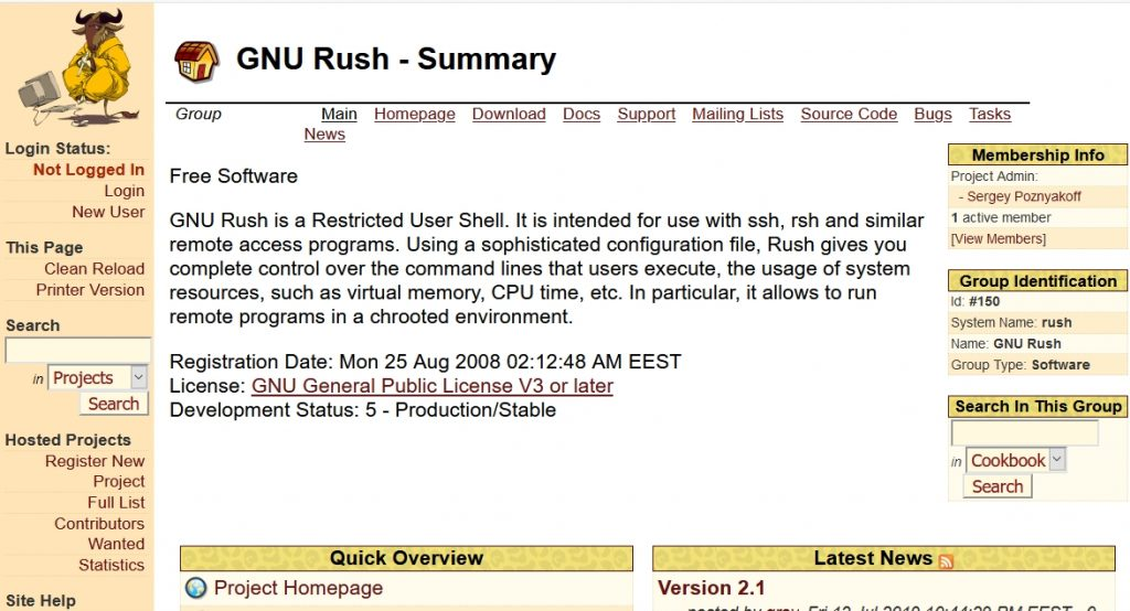 gnurush_gnu website