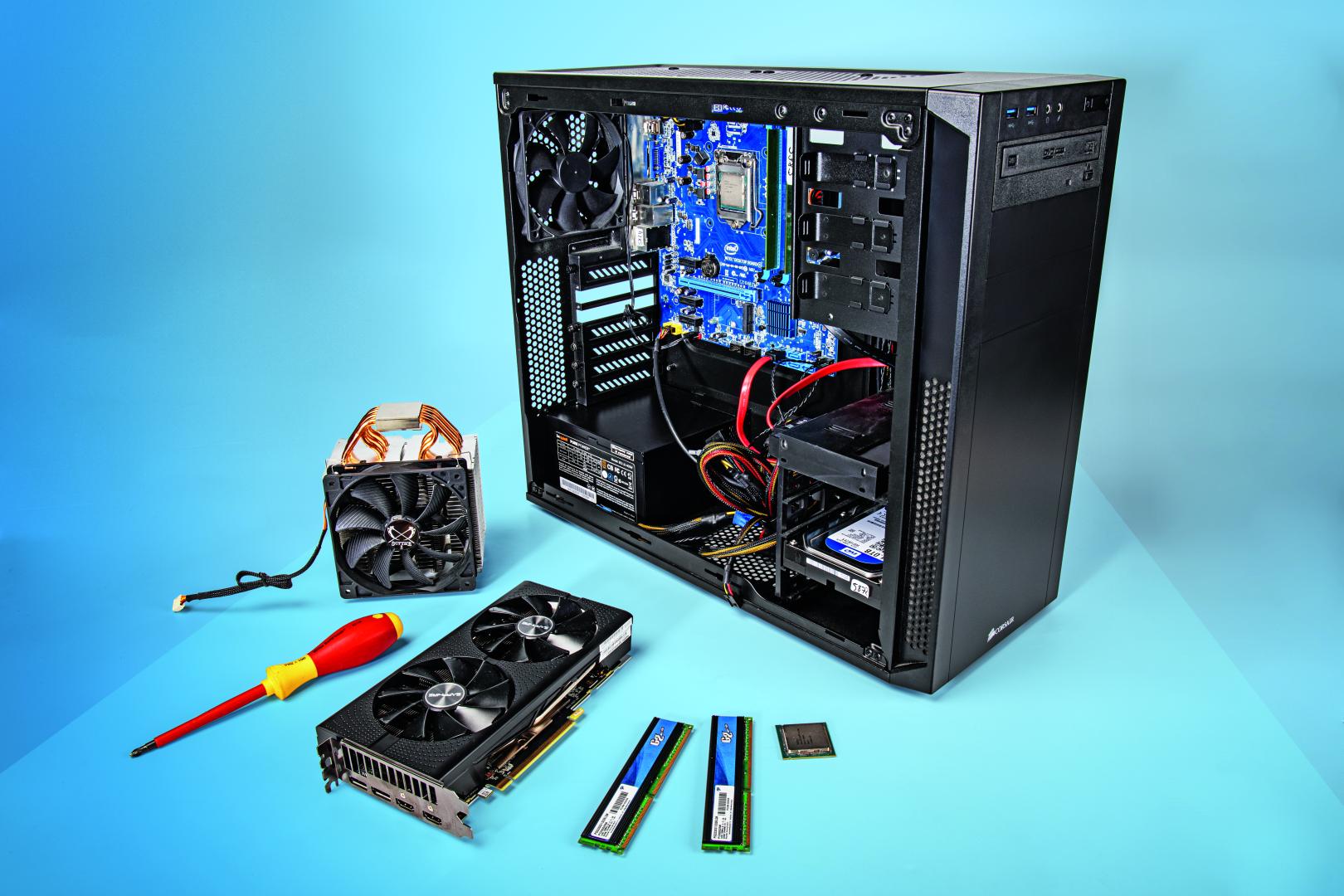 pc upgraden juiste hardware onderdelen behuizing voeding processor