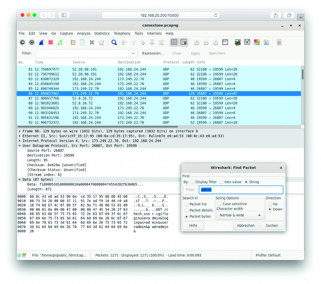 IP-camera netwerk veiligheid security monitoren wachtwoord Wireshark