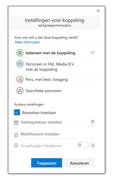 Microsoft Office online samenwerken remote bestand delen koppeling verzenden