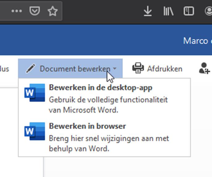 Microsoft Office online samenwerken remote delen bewerken met lokaal programma