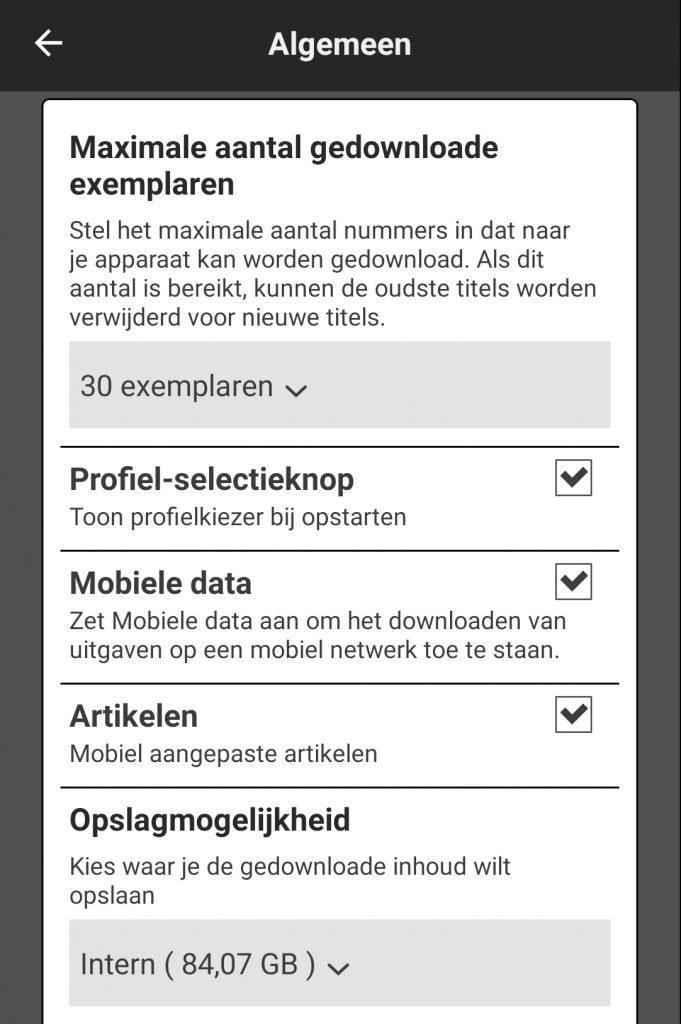 Readly app downloaden opties geheugenkaart sd-kaart