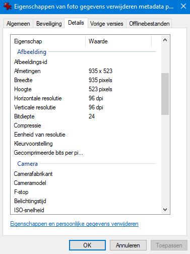 foto gegevens metadata verwijderen Verkenner