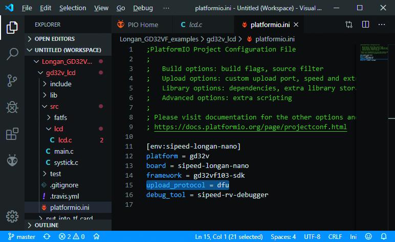 Longan Nano PlatformIO DFU code uploaden programmeren
