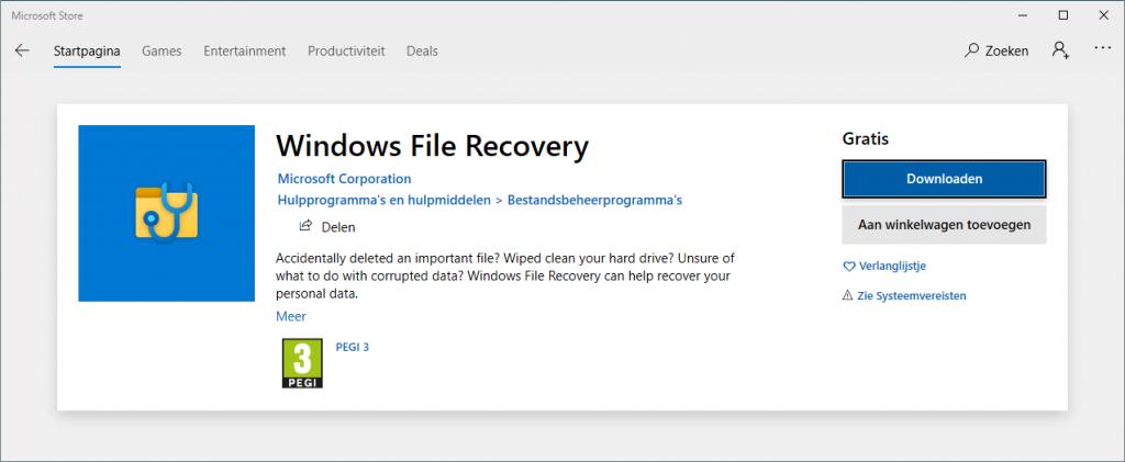 Microsoft Windows Filre Recovery