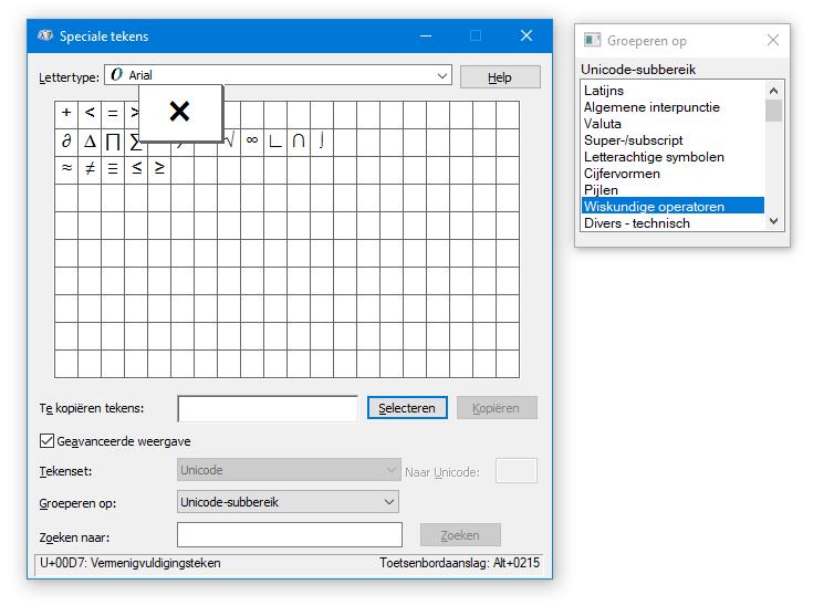 speciaal teken typen in Word Unicode Windows wiskundig