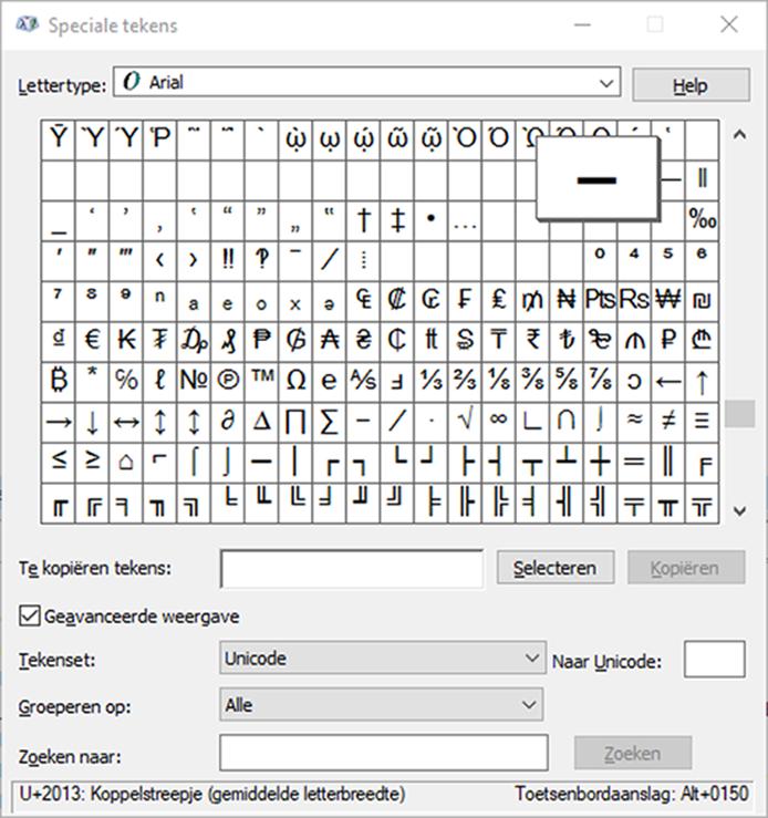 speciale tekens typen Windows