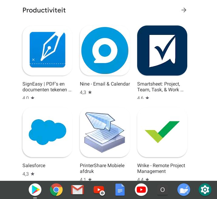 thuiswerken op Chromebook Android Apps Play Store