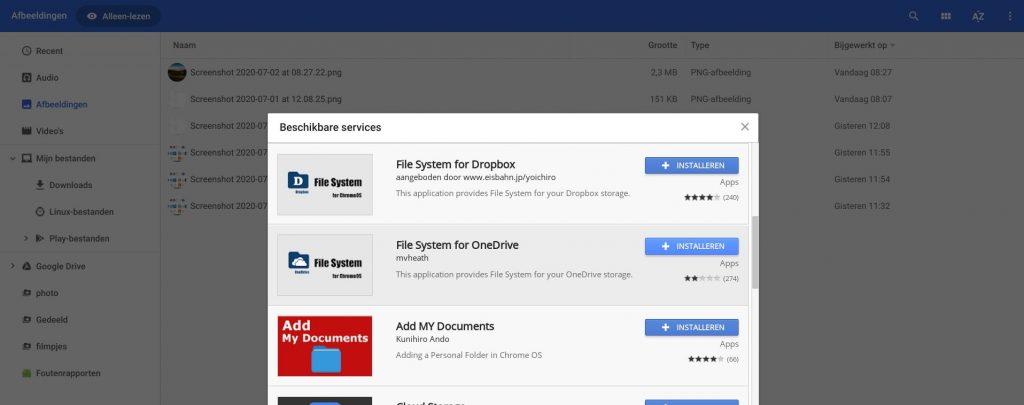 thuiswerken op Chromebook bestanden cloud OneDrive service map