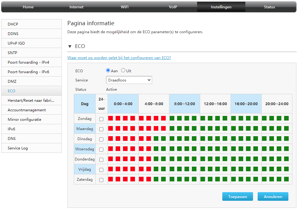 wifi uitzetten voor energiebesparing schema KPN Xperia box