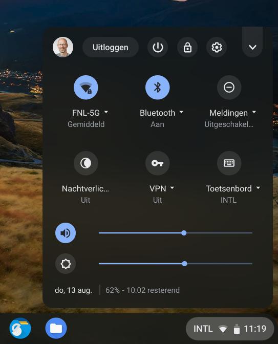 Chrome statusgedeelte uitloggen account wisselen