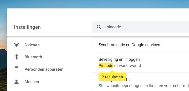 Chromebook pincode inloggen
