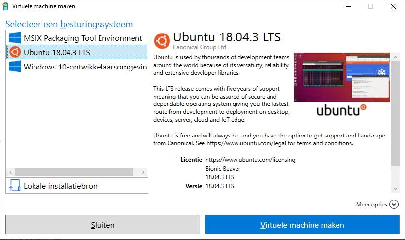 Hyper-V snelle installatie Windows 10 Enterprise Visual Studio Ubuntu