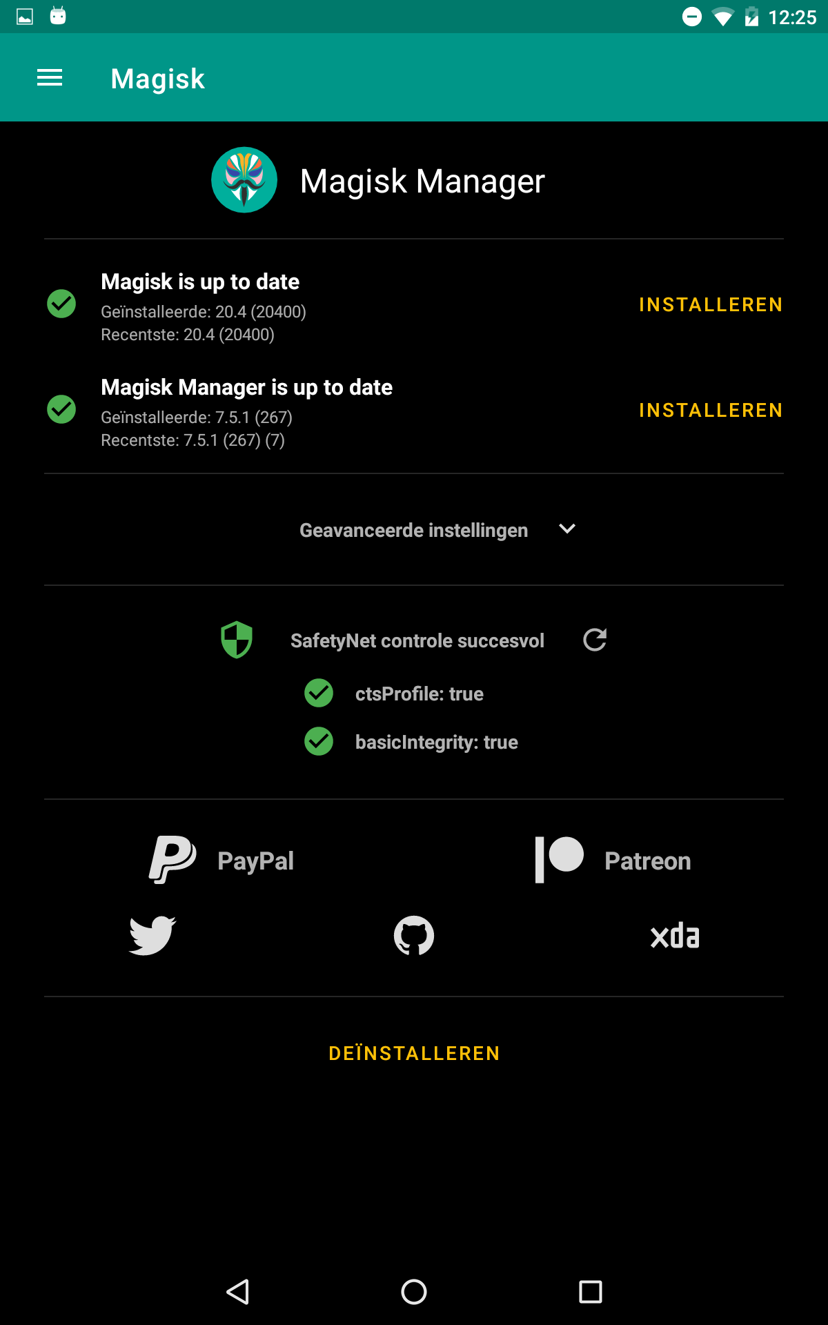 Magisk Manager SafetyNet controle