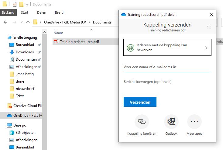 bestanden uitwisselen delen OneDrive