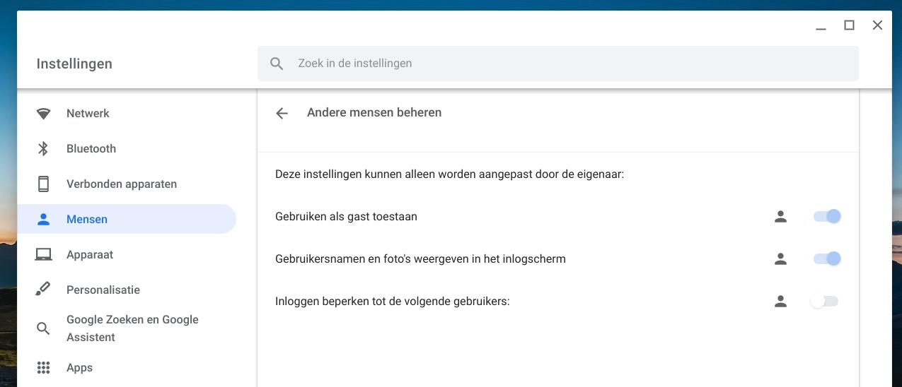 chromebook eigenaar gebruikers instellingen
