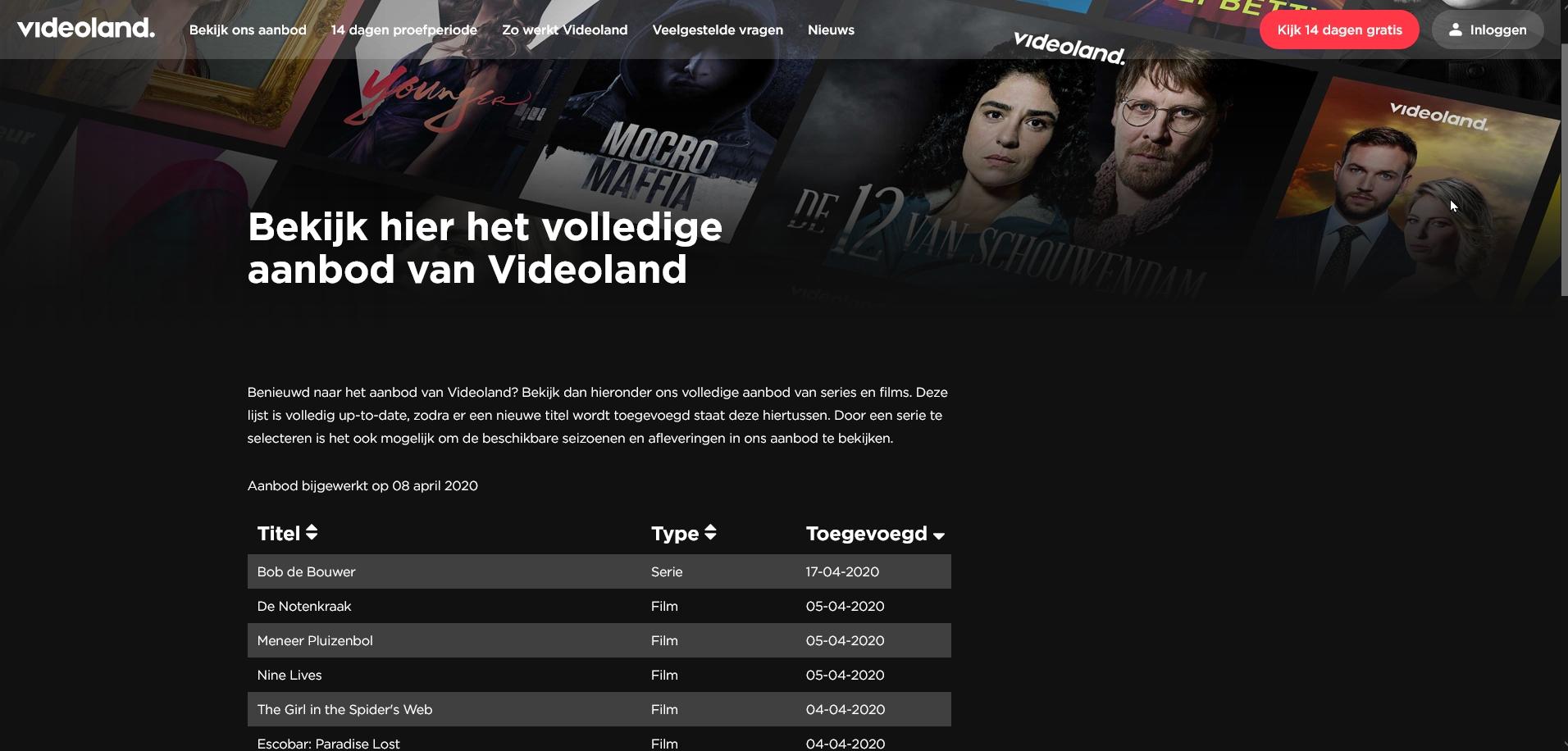 videoland streamingdienst aanbod