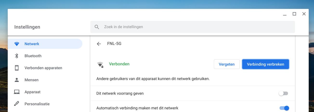 wifi netwerk delen aanpassen Chromebook
