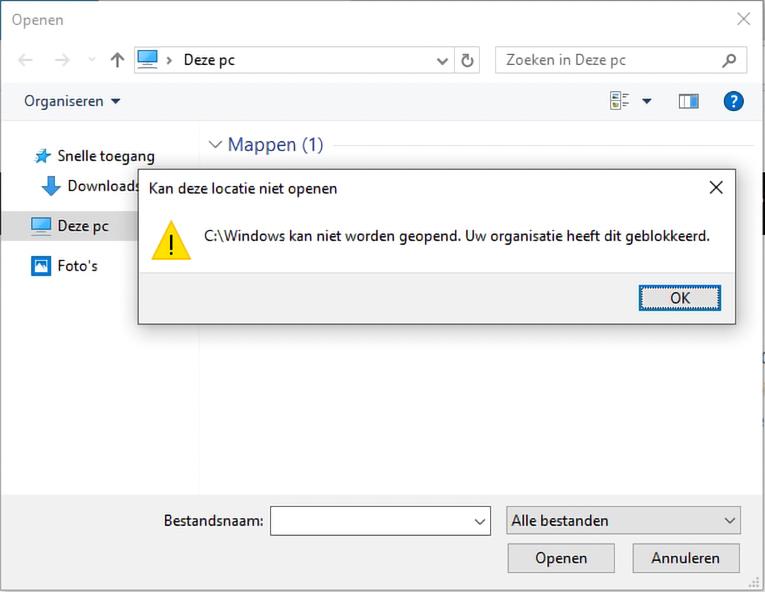 Kioskmodus Windows 10 Edge bestand downloaden