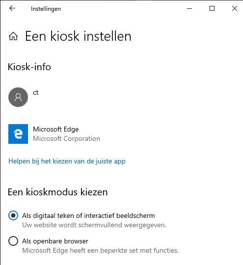 Kioskmodus instellen Windows 10