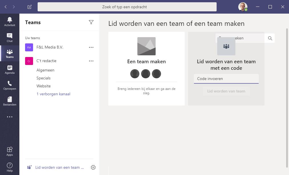 Microsoft Teams gebruiken navigatie