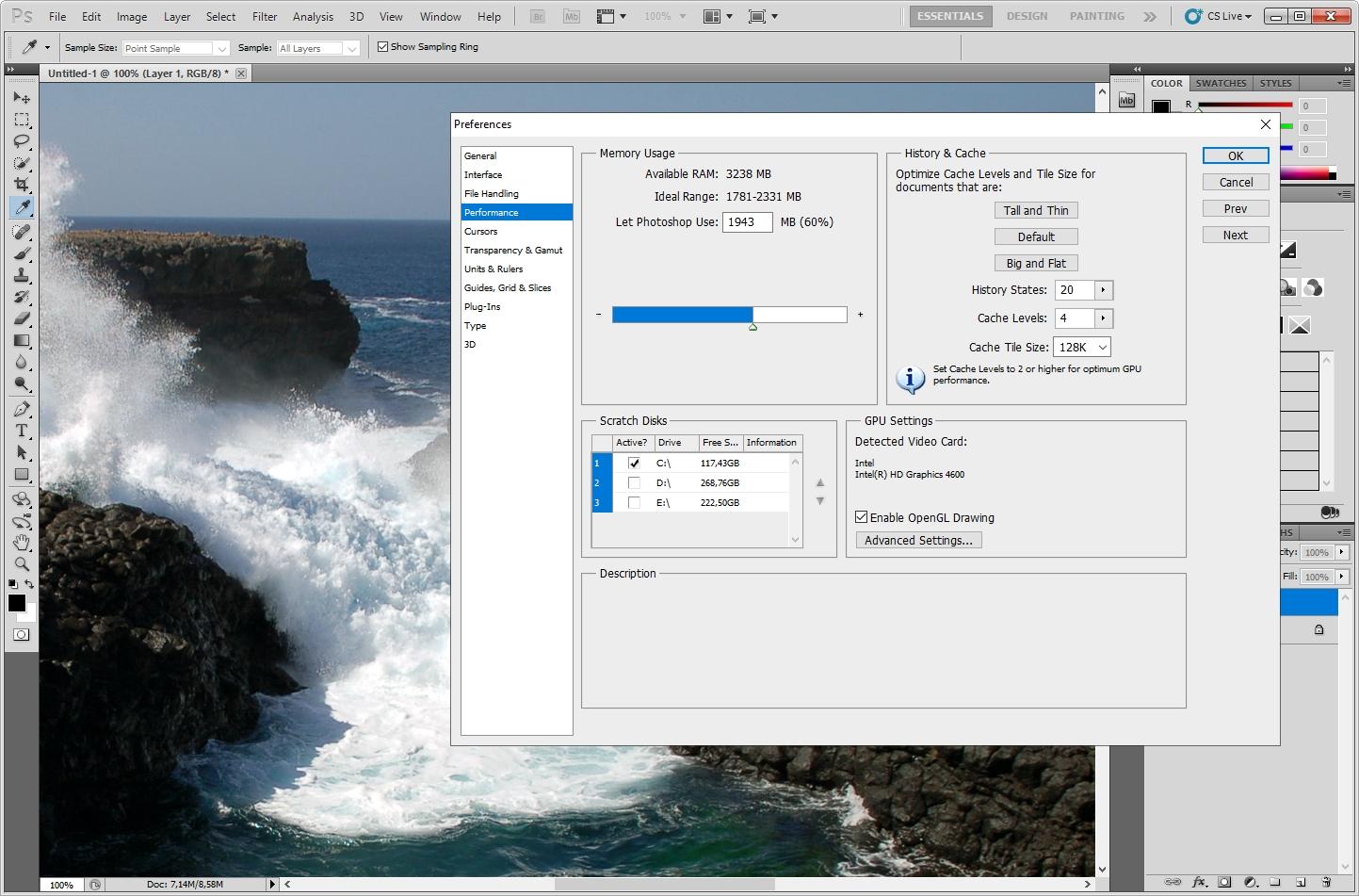 Photoshop prestaties voorkeuren instellen werkgeheugen