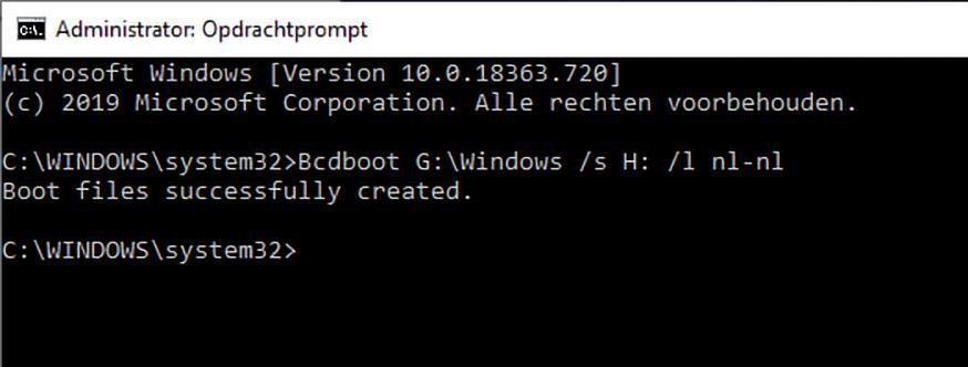 Windows 7 bootloader toevoegen bcdboot