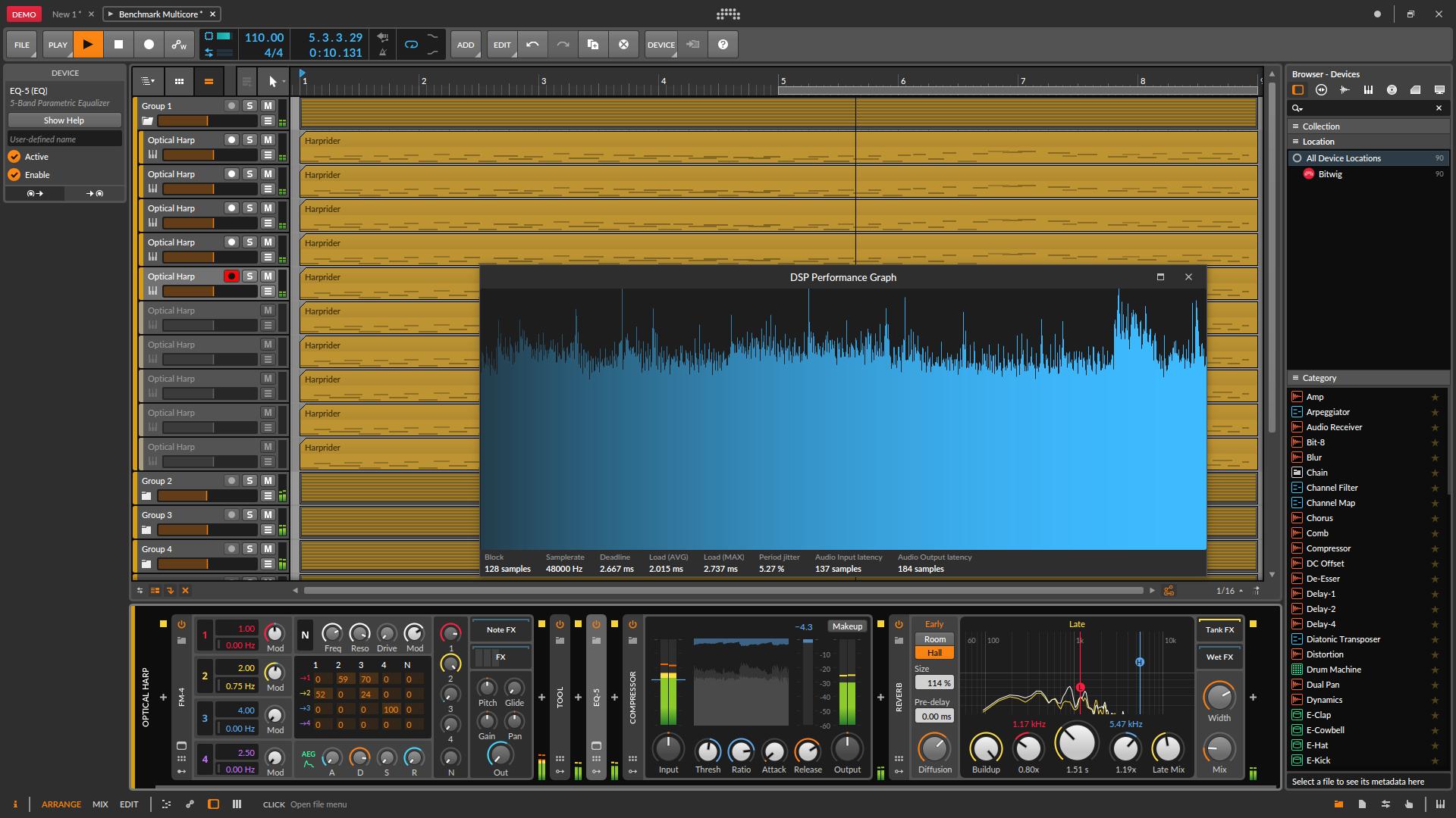 aantal cores en audiobewerking Bitwig audiobuffer