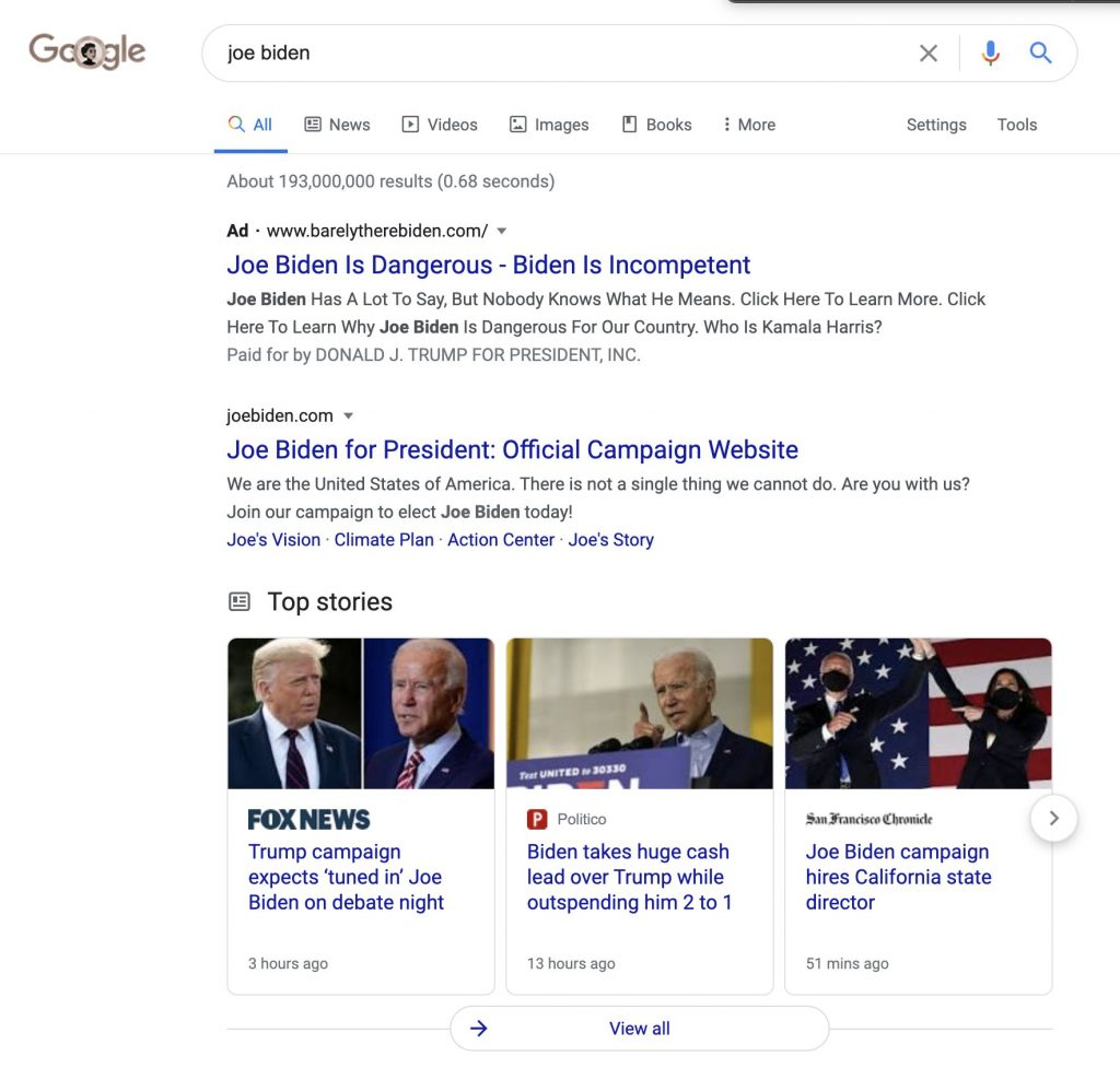 Google advertentie Biden Trump