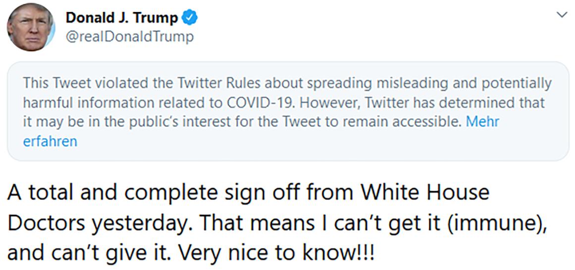 Trump tweet Twitter waarschuwing