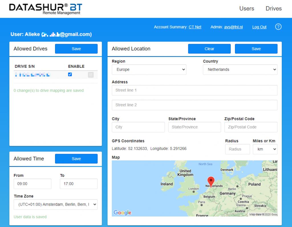 remote management datashur BT gebruikersopties
