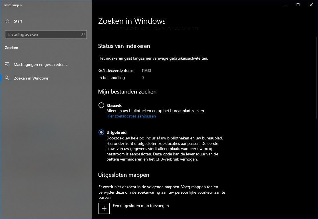 zoeken in Windows opties