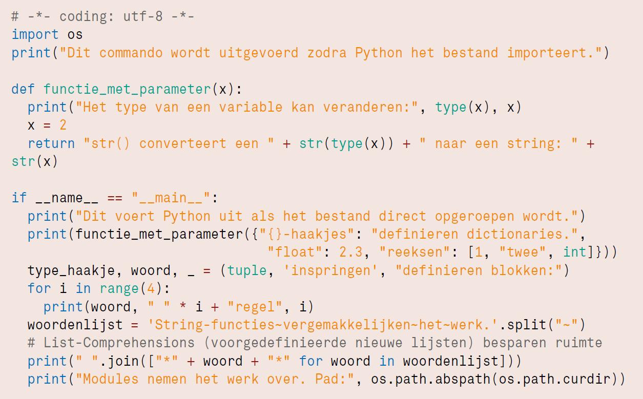 Python code voorbeeld