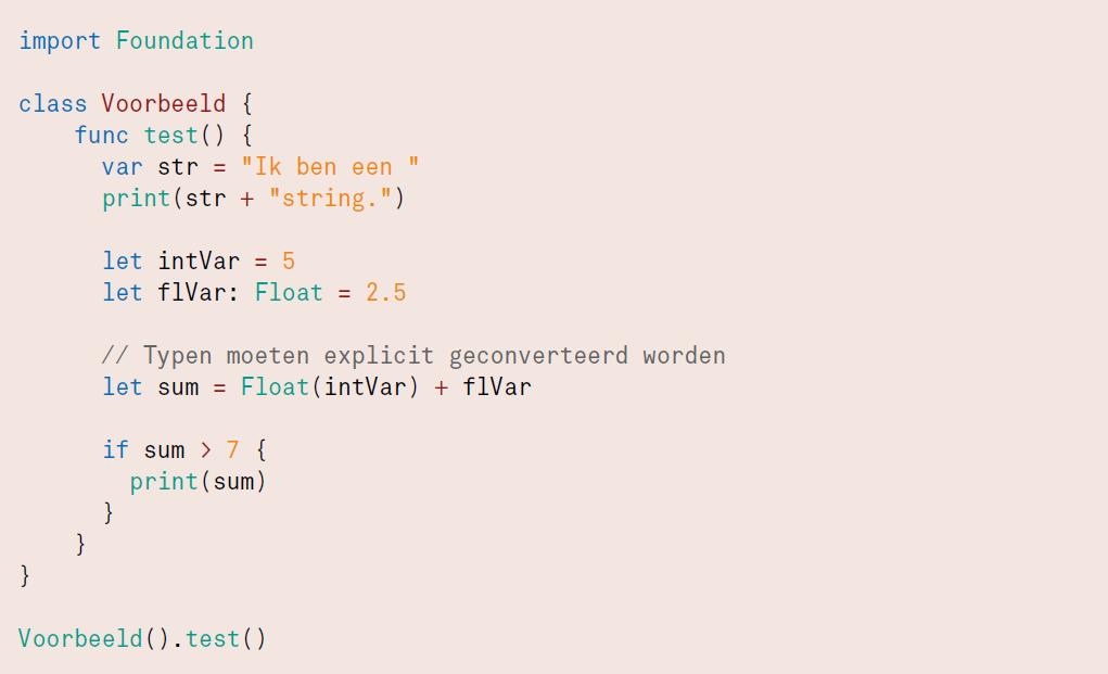 Swift programmeren code