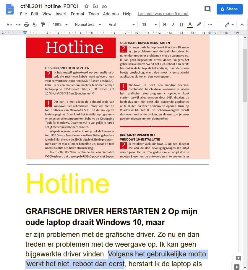 tekst kopieren uit beveiligde pdf OCR Google Drive Google Chrome