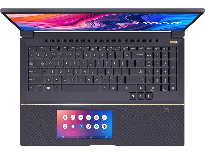 toetsenbord, ScreenPad en vingerafdrukscanner StudioBook