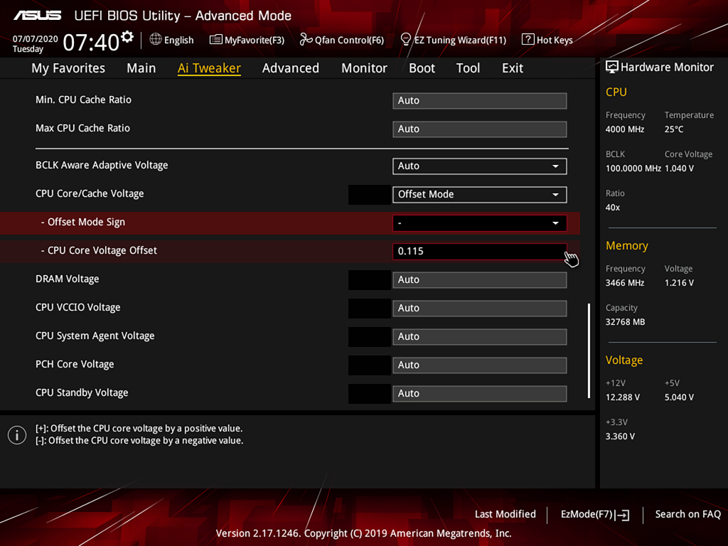 Asus UEFI BIOS undervolt