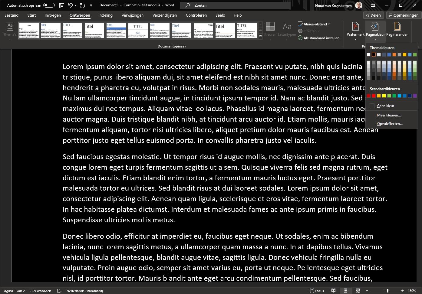 Microsoft Word donkere modus pagina kleur